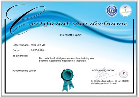 Deelnemerscertificaat Microsoft Experts