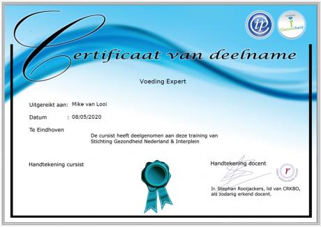 Deelnemerscertificaat Voeding Expert